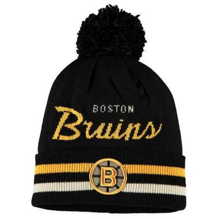 Adidas Men's NHL Boston Bruins Stocking Knit Hat Beanie Winter Cold Weather Ski (Boston Bruins Pom Beanie)