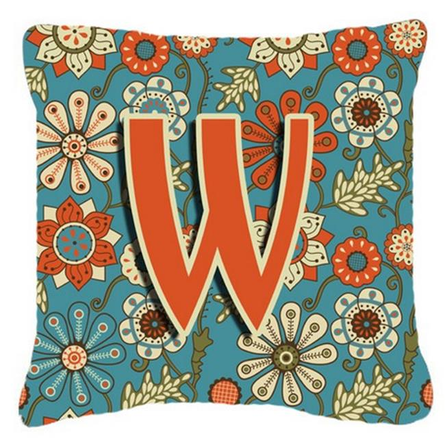 Carolines Treasures CJ2012-WPW1414 Letter W Flowers Retro Blue Canvas Fabric Decorative Pillow - image 1 of 1