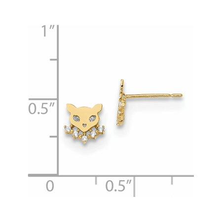 14k Yellow Gold Madi K Childrens Cat w/CZ Collar Post (6.53x6.8mm) Earrings - image 1 of 2