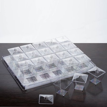 Efavormart 100 Pcs - Clear 3oz Stylish Disposable Plastic Dessert Cup w/ Lid and Serving Tray (5 Tray Sets) (Clear Serving Tray)