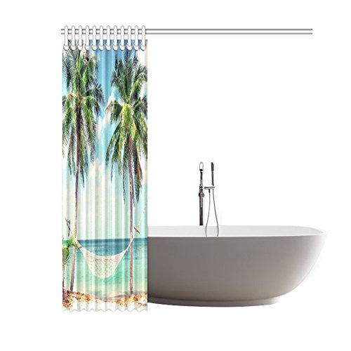 GCKG Tropical Sandy Beach Shower Curtain Coastal Palm Tree Polyester Fabric Bathroom Sets 60x72 Inches