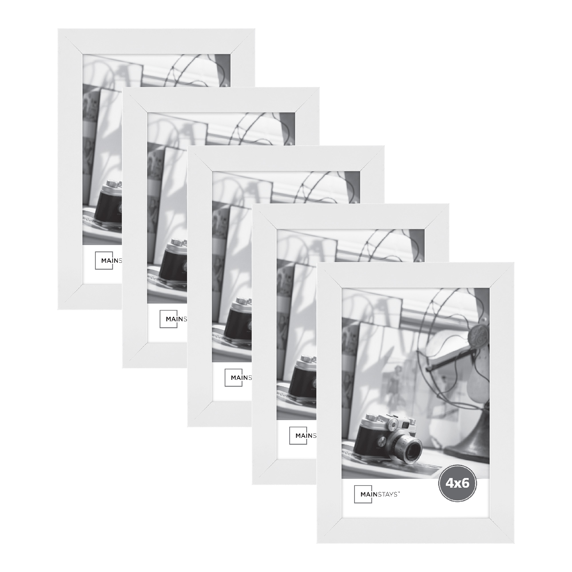 """Mainstays 4"""" x 6"""" White Wood Frame Set of Five"""