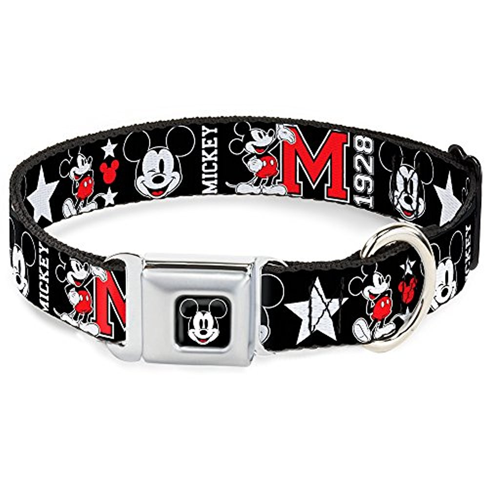 Dog Collar DYFD-Mickey Mouse Face Full Color Black - Classic Mickey Mouse Pet Collar