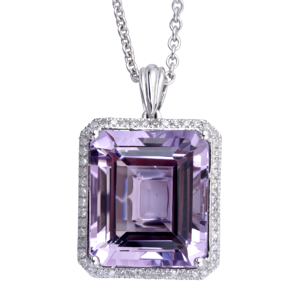 925 Sterling Silver Octogon Amethyst Color Stone & Diamond Pendant Necklace ( 0.20 Carat ) by Diamond Delight