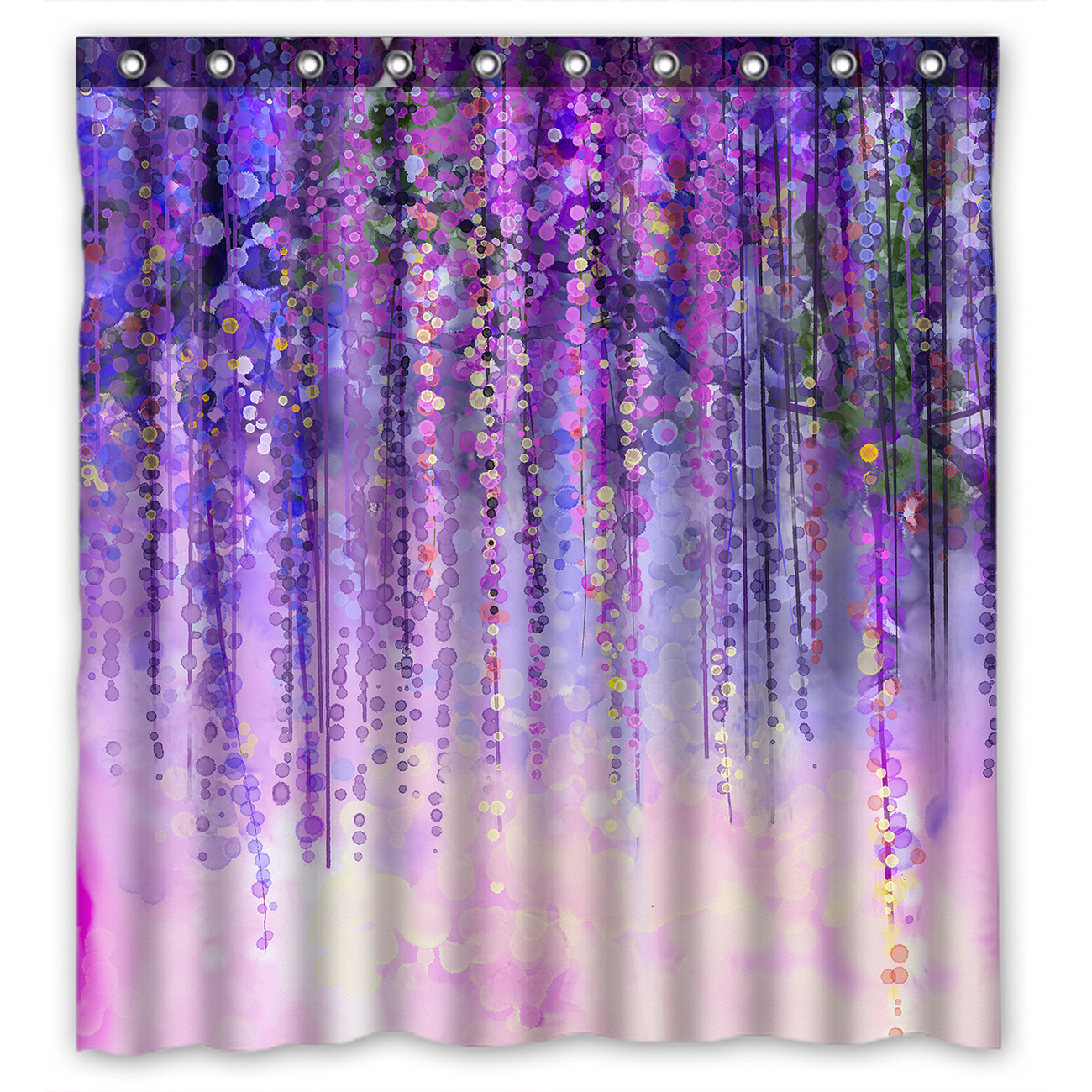 YKCG Wisteria Flowers Tree Purple Violet Floral Waterproof Fabric Bathroom  Shower Curtain 66x72 Inches