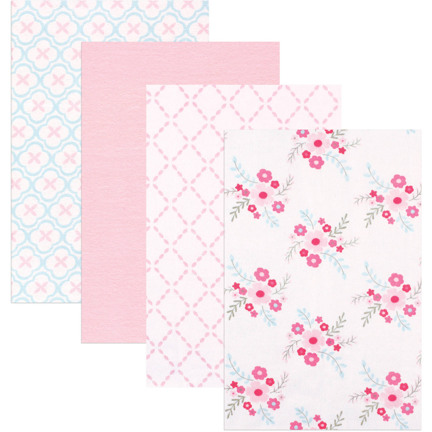 Luvable Friends Receiving Blankets Flannel, 4pk, Floral