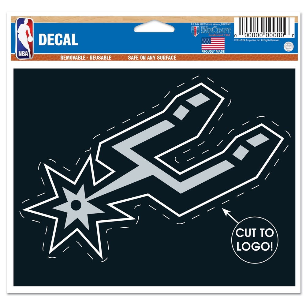 San Antonio Spurs Official NBA 4.5 inch  x 5.75 inch  Car Window Cling Decal by WinCraft