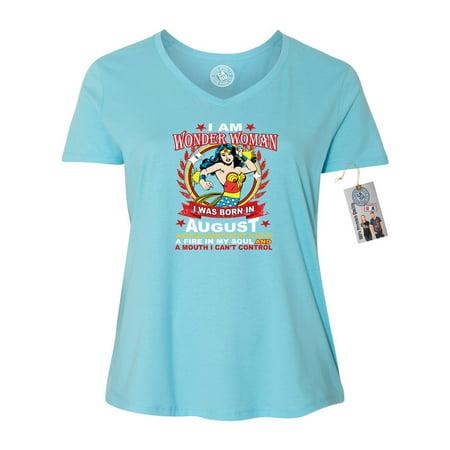 Wonder Woman Born In August Superhero Plus Size Womens V Neck T-Shirt Top (Superhero T Shirts Plus Size)