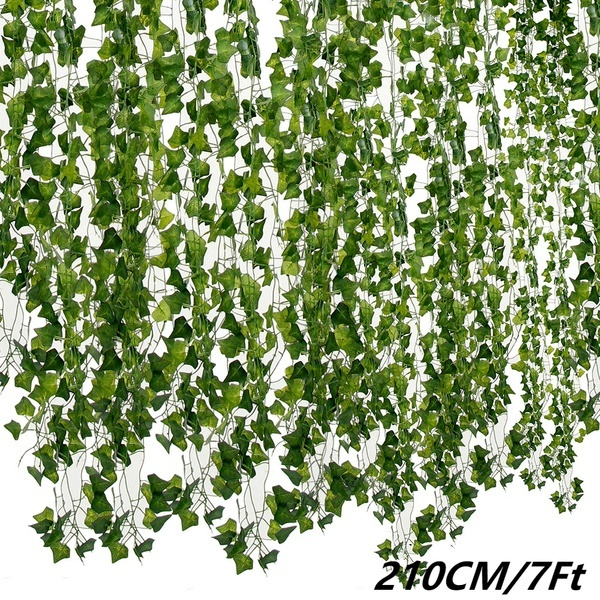 Artificial Ivy Leaf Creeper Trailing Vine Fake Foliage Flower Hanging Plants 7ft
