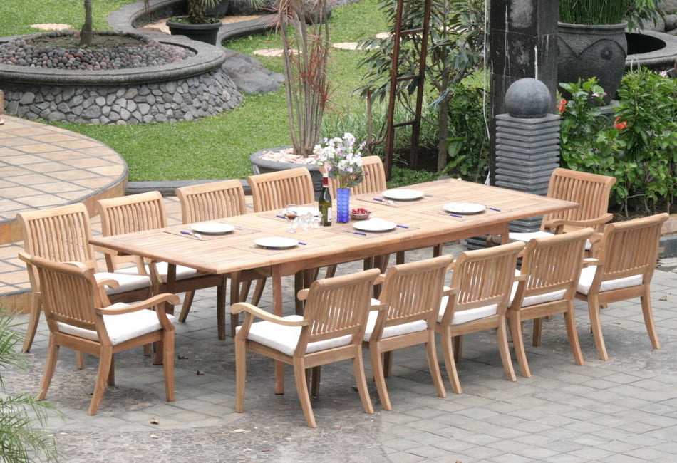 "Teak Dining Room Set:12 Seater 13 Pc Large 117"" Rectangle Table and 12 Stacking Arbor Armchairs Outdoor... by WholesaleTeak"