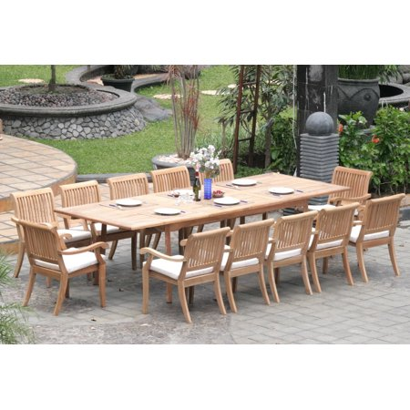 Teak Dining Set 12 Seater 13 Pc Large 117 Rectangle Table And 12 Stacking Arbor Arm Chairs Outdoor Patio Grade A Teak Wood Wholesaleteak Wmdsabo