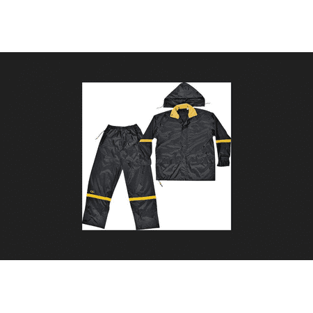 Custom Leathercraft Large Black Nylon Rain Suit Set, 3pk