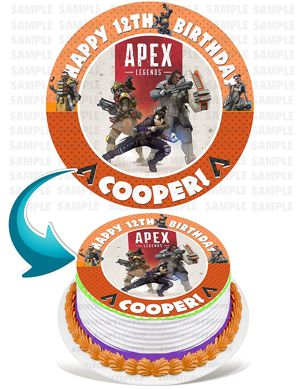 Tremendous Apex Legends Edible Cake Image Topper Personalized Birthday Party Personalised Birthday Cards Petedlily Jamesorg