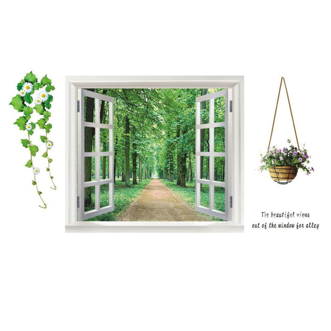 Bedroom PVC Window Tree Pattern Self-adhesive Wall Sticker Decoration
