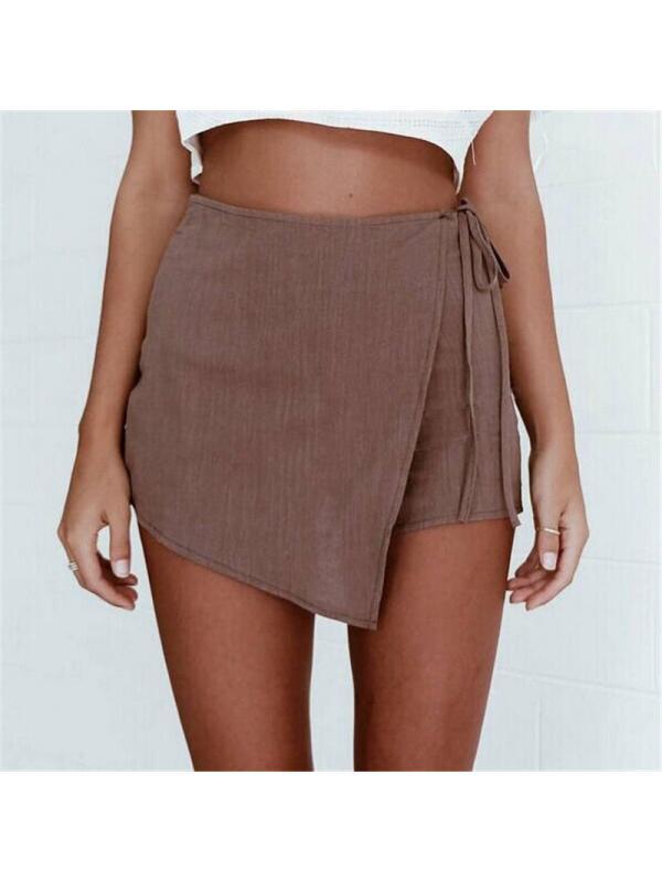 Ropalia Summer Women Sexy High Waist Casual Pants Wrap Shorts Irregular Culottes