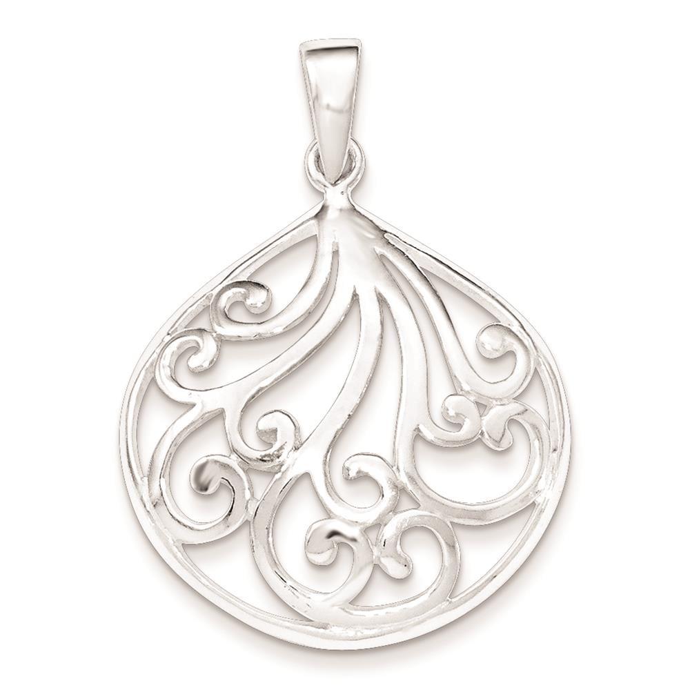 925 Sterling Silver Polished Fancy Swirl Charm Pendant