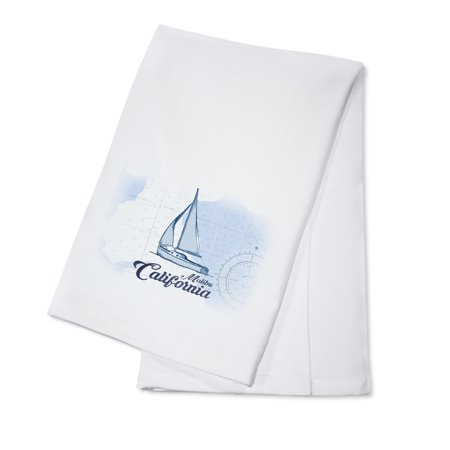 Malibu  California   Sailboat   Blue   Coastal Icon   Lantern Press Artwork  100  Cotton Kitchen Towel