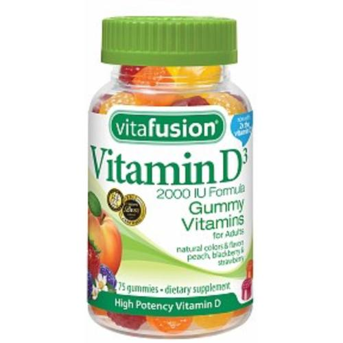 Vitafusion Vitamin D3 2000 IU Gummy Vitamins for Adults Dietary Supplement Peach, Blackberry & Strawberry Flavors 75 Eac