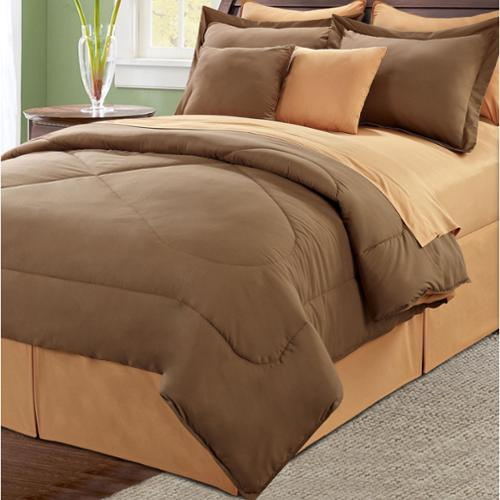 Serenta Reversible 10-piece Comforter Set Chocolate / burnt orange, Queen