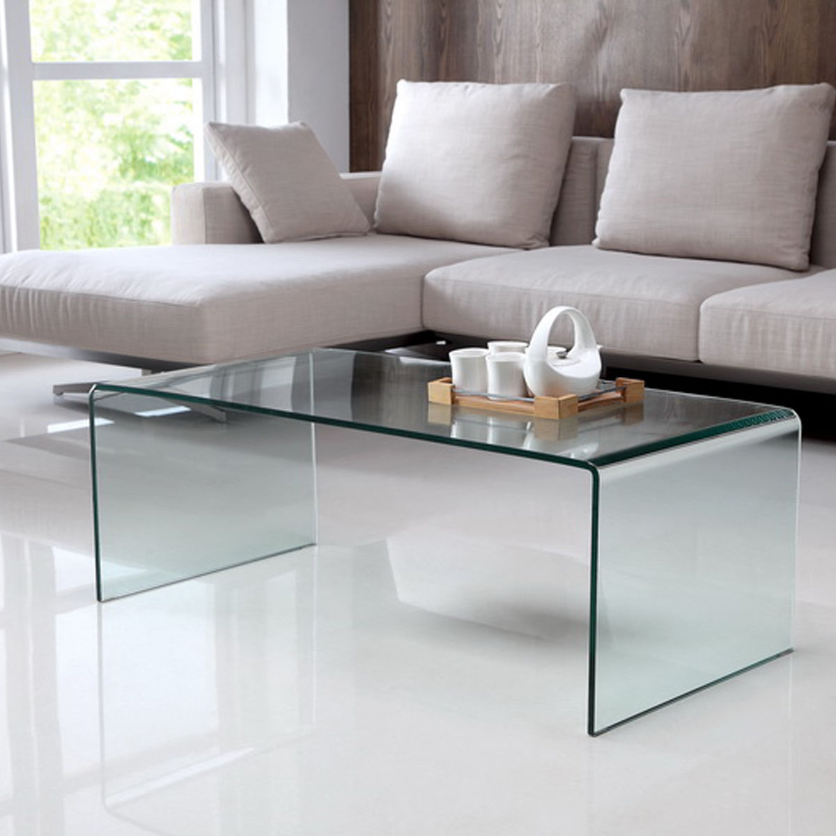 Costway Modern Tempered Glass Coffee Cocktail Table Accent Living Room Furniture by Costway
