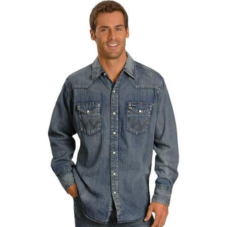 Wrangler men 39 s slub denim work shirt ms1039w for Mens denim work shirt