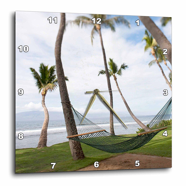 3dRose Hammock under Hawaiian palm trees, Maui, Hawaii US10 JGS0039 Jim Goldstein, Wall Clock, 15 by 15-inch by 3dRose