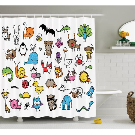 Doodle Shower Curtain, Collection of Cartoon Style Animals Drawn in Child Friendly Manner Cute Adorable Fun, Fabric Bathroom Set with Hooks, 69W X 70L Inches, Multicolor, by Ambesonne