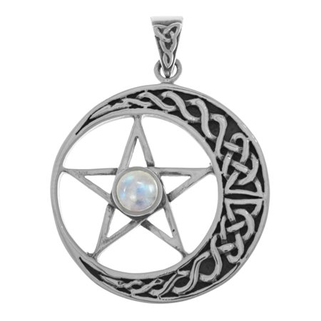 Sterling Silver Celtic Moon and Star Pentacle Pendant with (Pentacle Pendant)