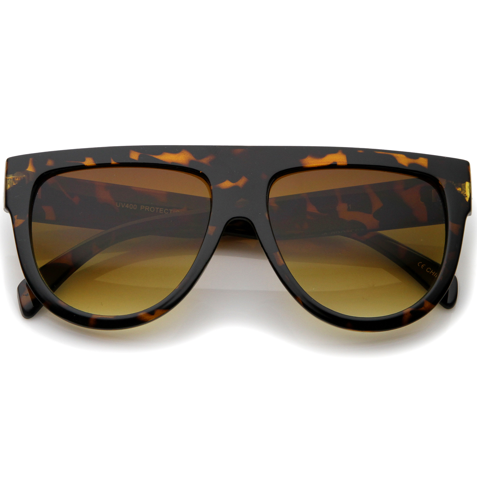 Large Oversize Wide Temple Flat Top Aviator Sunglasses 57mm (Orange-Tortoise / Amber)