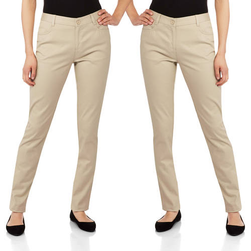 George - Juniors School Uniform Flat Front Skinny Pants 2pk Value Bundle