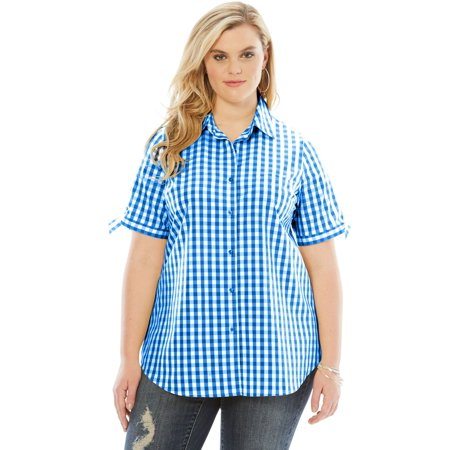 Roaman's Denim 24/7 Plus Size Gingham Shirt With Sleeve
