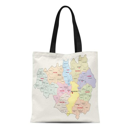 KDAGR Canvas Tote Bag City Greater Manchester County Map Area Outline United Administrative Reusable Shoulder Grocery Shopping Bags Handbag (Manchester City Shoe Bag)