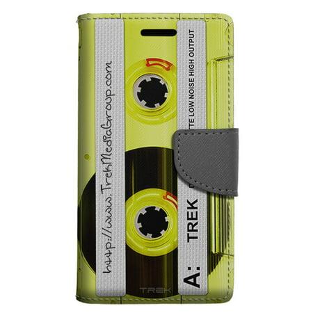 Alcatel Pop 4 Wallet Case - Retro Clear Cassette Tape Yellow Case