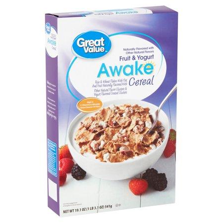 (3 Pack) Great Value Awake Fruit & Yogurt Cereal, 19.1 oz