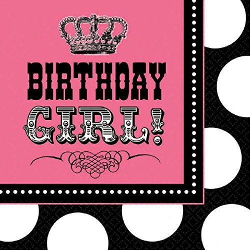 "Amscan Rocker Princess Birthday Party Lunch Napkins Tableware (16 Pack), 6.5"" x 6.5"", Black/Pink"