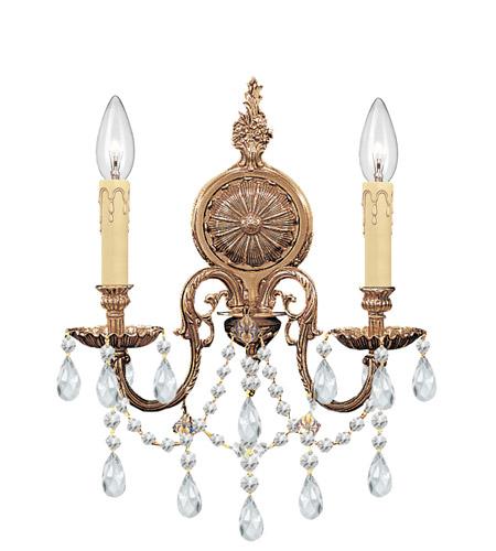 Crystorama 2 Light Crystal Olde Brass Cast Brass Wall Mount by Crystorama