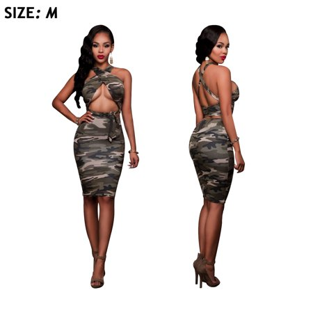Women Crop Top Midi Skirt Outfit Two Pieces Camouflage Dress M