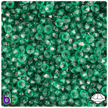 BeadTin Forest Green Transparent 6mm Faceted Rondelle Craft Beads (1200pcs) Green Tourmaline Faceted Rondelle Beads