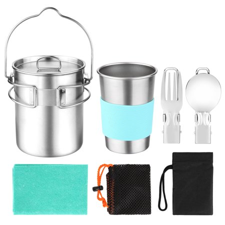 ODOLAND Camping Cookware Kit, Stainless Steel Camping Pot with Hanger, 12oz Water Cup with Protector, Fork Spoon Kit with Carry Bag, Great for Backpacking, Outdoor Camping Hiking and Picnic