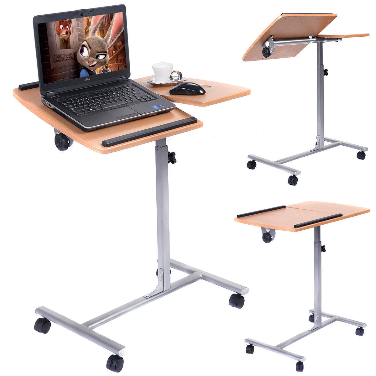"GHP Home/Office 25""Lx18""Wx37""H Durable Iron Frame & Wooden Swivel Laptop Desk/Stand"