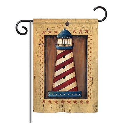 "Breeze Decor - Patriotic Lighthouse Coastal - Everyday Nautical Impressions Decorative Vertical Garden Flag 13"" x 18.5"" Printed In USA"