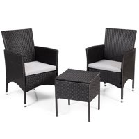 Topbuy 2PC Patio Rattan Wicker Dining Chairs Set With Cushions Black
