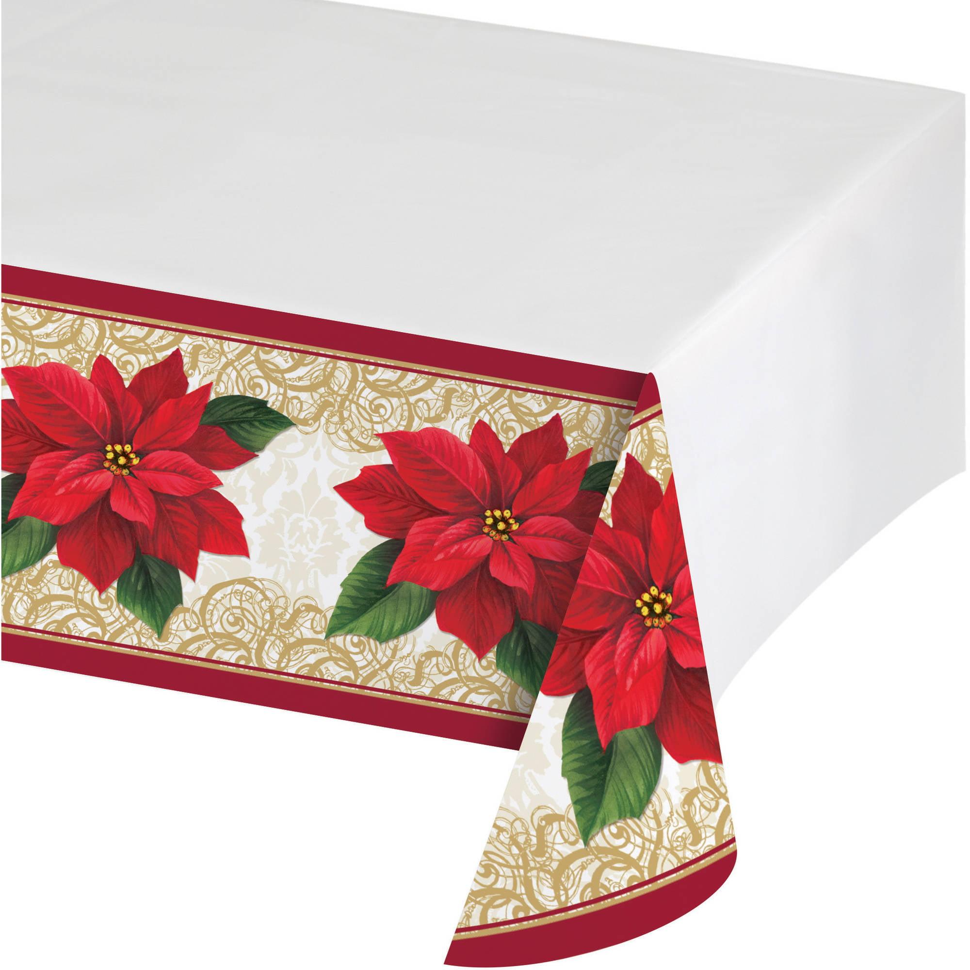 Poinsettia Lace Plastic Tablecloth