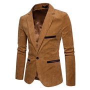 Men's Autumn Winter Casual Corduroy Slim Long Sleeve Coat Suit Jacket Blazer Top