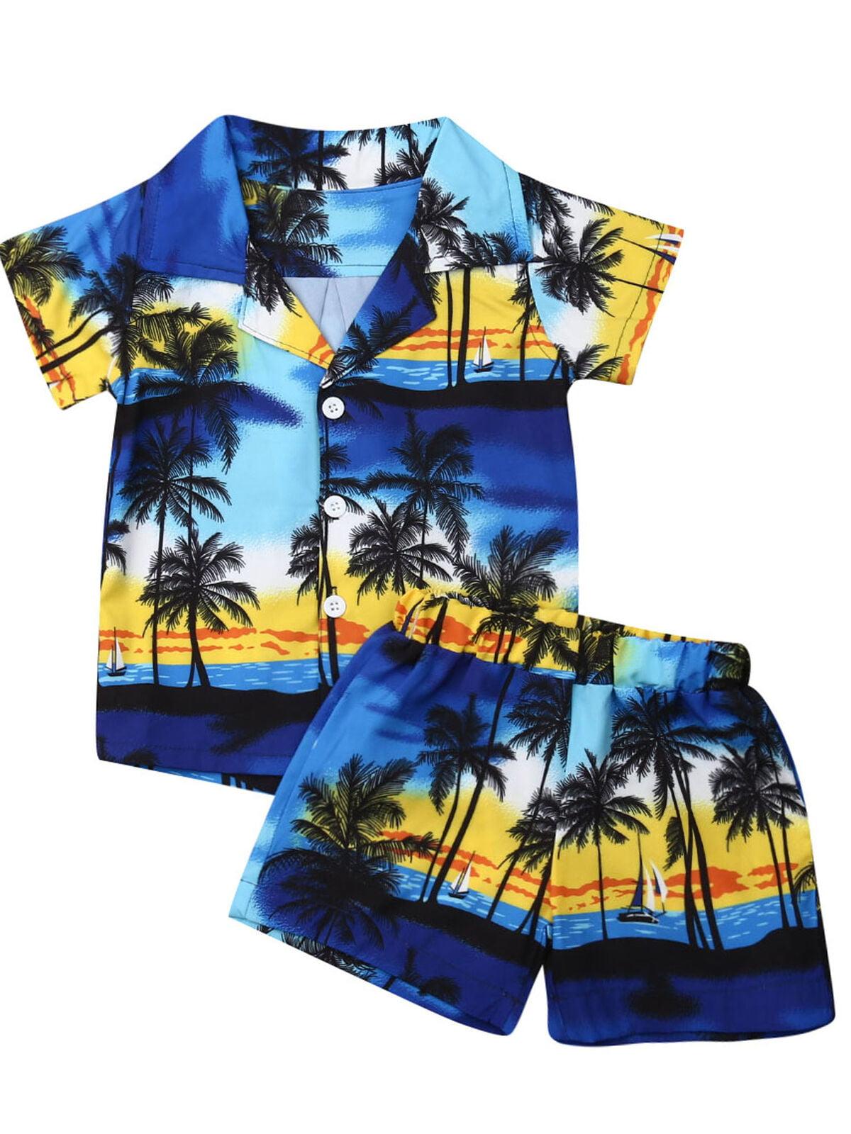 Toddler Kid Baby Boy Clothes Outfit Set Hawaiian Beach Shirt Tops Shorts Pants