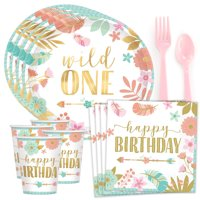 Wild One Boho Girl 1st Birthday Party Supplies