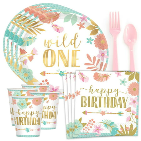 Boho 1st Birthday Girl Standard Tableware Kit (Serves 8)](Boho Birthday Party)