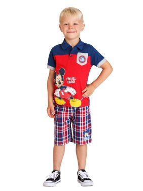 3c95e037 Product Image Toddler Boy's Mickey Mouse All Ears Polo and Plaid Short Set