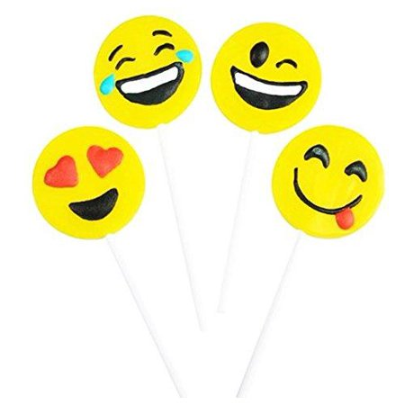 Play Kreative Yellow Emoji Face Lollipop 4    12 Emoticon Frosted Suckers