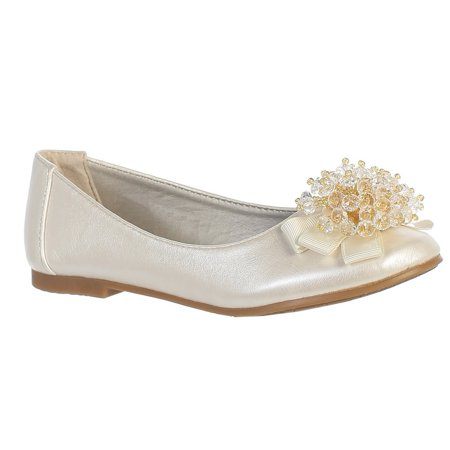 Girls Ivory Crystal Bead Bow Anna Special Occasion Dress Shoes 11-4 Kids